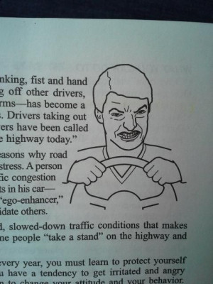 Road Rage Man in driver's education book