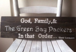 God, family, Green Bay packers quote wall art sign. Reclaimed barn ...