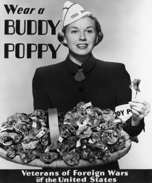 Actress Doris Day was selected by the VFW to be their 1950 Buddy Poppy ...