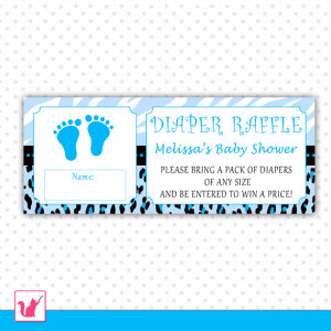 Printable Personalized Blue Baby Feet Diaper Raffle Baby Shower ...
