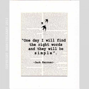 JACK KEROUAC QUOTE Art Print inspirational motivational literary quote ...