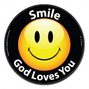 Smile God Loves You Happy Face Car Magnet