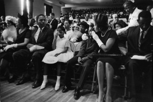 , comforts their son Darryl Kenyatta Evers during the civil rights ...