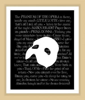 Phantom of the Opera Musical Quotes Print