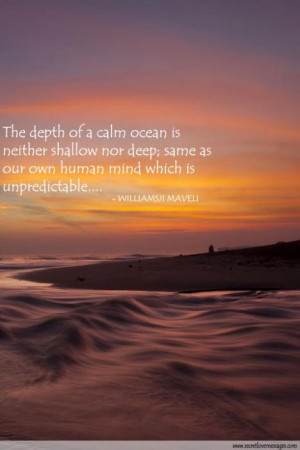 The depth of a calm ocean