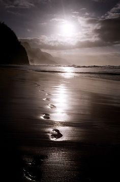 Footprints in the sand. this is so beautiful..like walking with god ...
