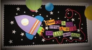 rocket bulletin board plus other cute bulletin board ideas.
