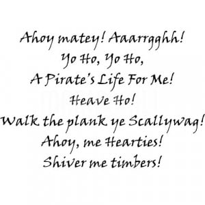 pirate sayings wall stickers Pirate Sayings For Kids