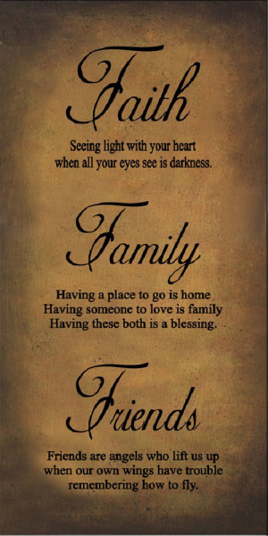 Faith Family Friends Gold Primitive Framed Quote 10x16