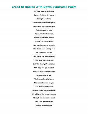 down syndrome quotes and poems