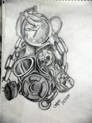 Time Tattoos Designs Gas mask and time tattoo