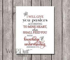 Pastor Appreciation Scripture Digital Print -- Elegant Black & Red ...