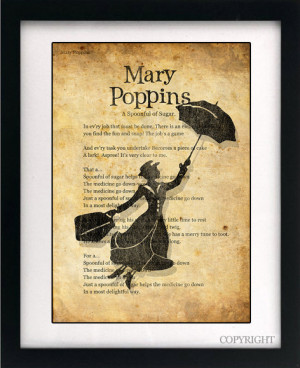 Mary Poppins Song Lyrics Art Book Print - A4 or A3 Large Vintage Page ...