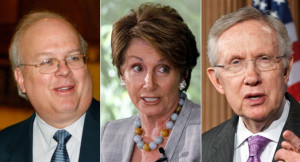 Karl Rove, Nancy Pelosi and Harry Reid are shown. | AP Photos