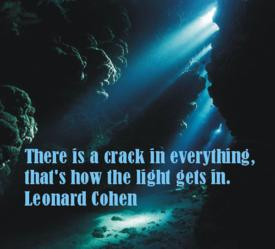 """... crack in everything, that's how the light gets in. """" ~ Leonard Cohen"""