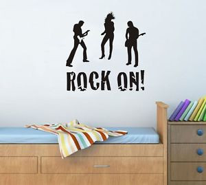 Rock-On-Roll-Star-Guitar-Music-Disco-Vinyl-Decal-wall-quote-stickers ...