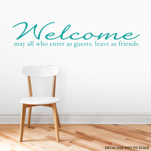 clearance turquoise 36 welcome guests and friends wall quote decal