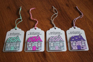 Welcome to the Neighborhood Gift Tags Set of 4 by CraftSewKnit, $2.00