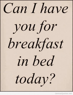Funny breakfast quote with bed