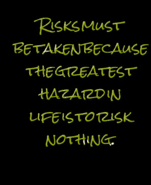 Quotes Picture: risks must be taken because the greatest hazard in ...