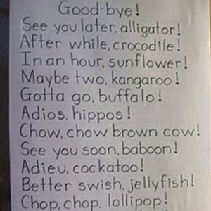 See you later, alligator-- can we please memorize this and say it ...