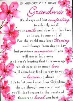 In Memory Of A Dear Grandma…