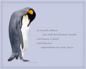To reach others use soft but honest words and have a kind and sincere ...