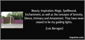 ... Amazement. They have never ceased to be my guiding lights. - Luis