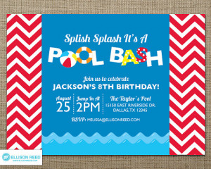 Pool Party Invitation - Pool Party Printable - Water party - Swim ...