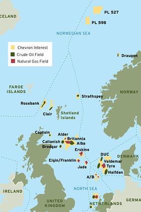 north sea oil field map