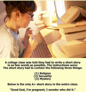 College woman comes up with short story base on 3 concepts, Religion ...