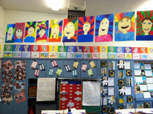 Across our classroom clothesline I hung self-portraits that my ...