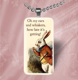 White Rabbit Quote Domino Pendant Necklace