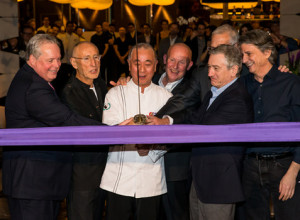 Chef Nobu, Robert De Niro, and others cut the ribbon on the opening of ...
