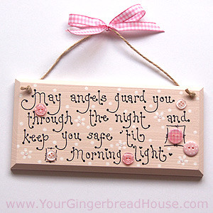 May Angels Guard You Through The Night And Keep You Safe - Baby Quote