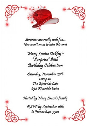 ... Red Hat Birthday Party Invitation Stationery for Birthdays of all Ages