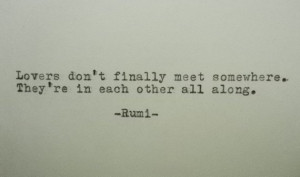RUMI Love Quote Hand Typed Typewriter Quote Rumi with Vintage ...