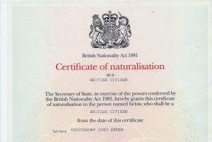 UK Citizenship Certificate, Cory Doctorow (redacted).tif
