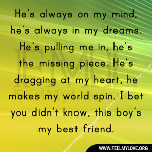 Quotes Always On My Mind ~ He's always on my mind, he's always in my ...