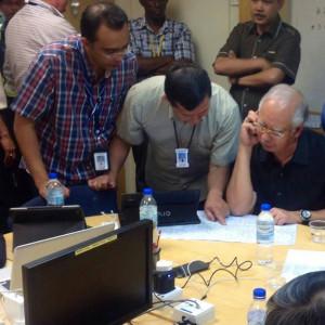 Malaysian Prime Minister Najib Razak at the Emergency Ops Centre ...
