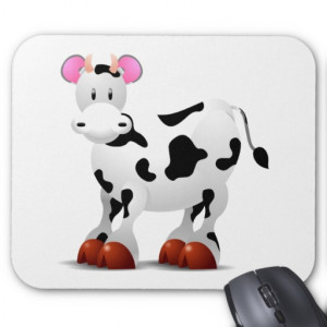 Cute Happy cow cartoon characters Mouse Pads