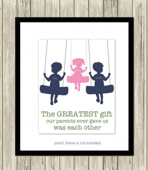 Multiple siblings wall art, brother and sister wall art, sibling quote ...