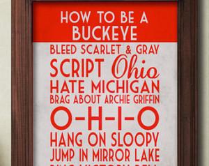 Ohio State Art Print, Buckeye Quote Poster Sign, Buckeye Football ...