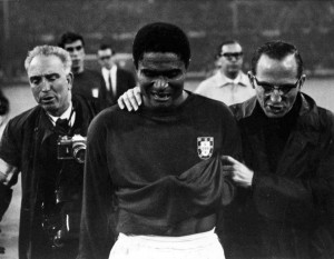 semifinal of the World Cup at Wembley, London. Eusebio, the Portuguese ...