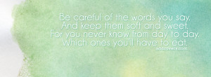 Be careful of what you say {Advice Quotes Facebook Timeline Cover ...
