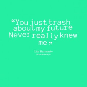 Quotes Picture: you just trash about my future never really knew me