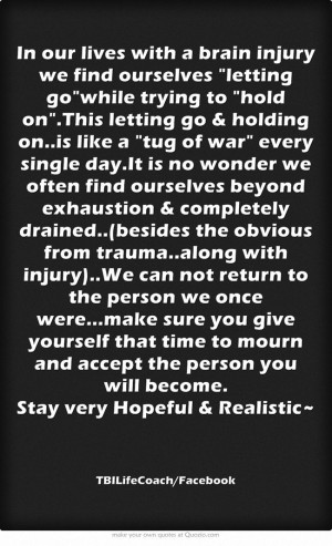 In our lives with a brain injury we find ourselves letting gowhile ...