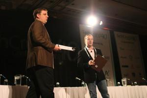 Michael Arrington and Jason Calacanis kick things off