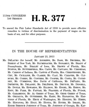 377 (113 th ): Paycheck Fairness Act