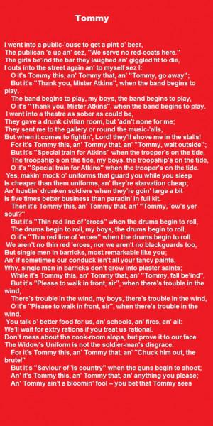 Tommy = Rudyard Kipling